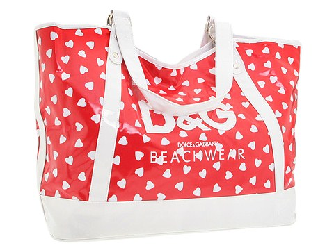 D G Dolce   Gabbana Beach Tote Bag Cherry Hearts - Bags and Luggage 8933469344859