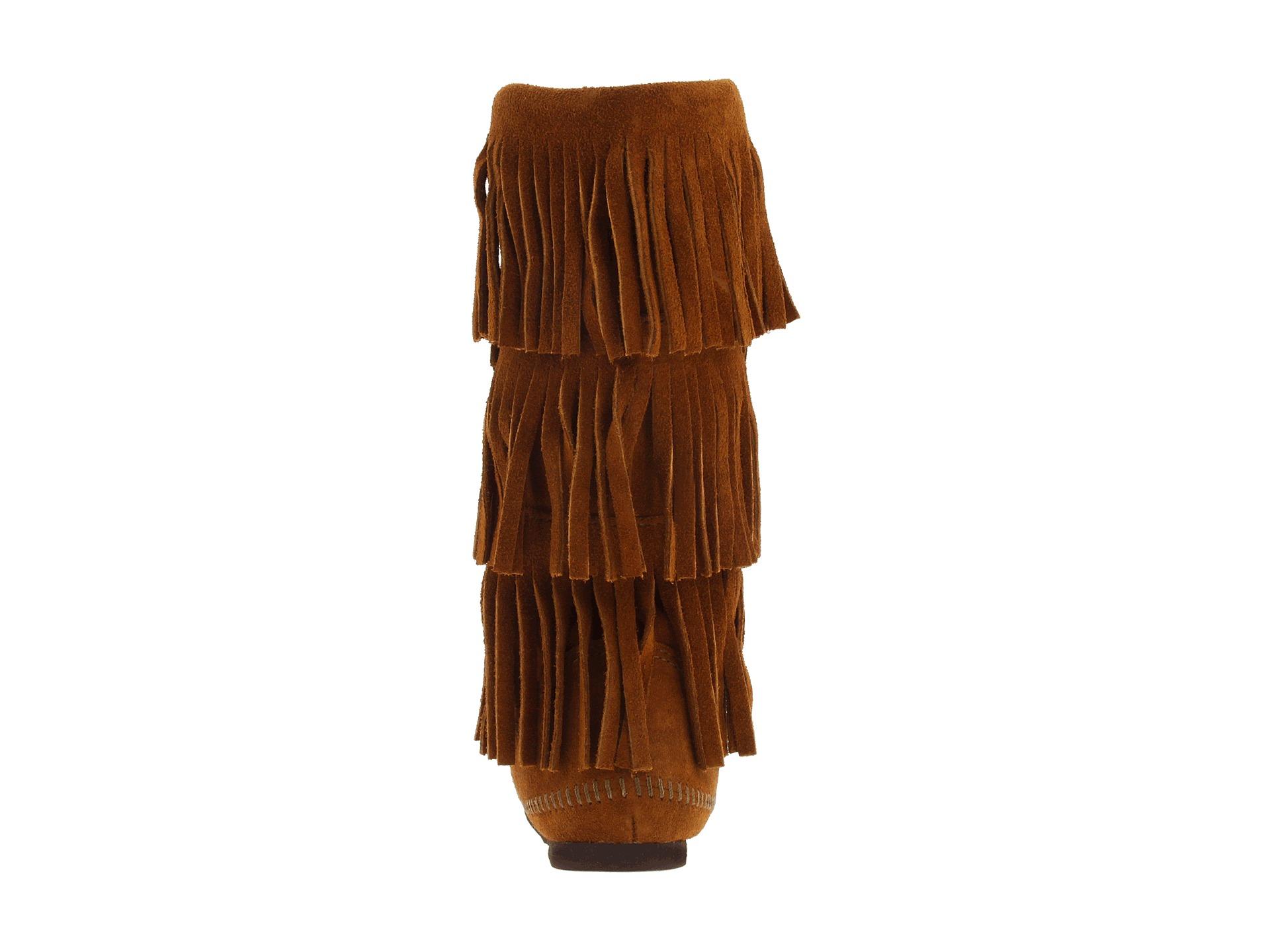 Minnetonka Calf Hi 3-Layer Fringe Taupe Suede Boots
