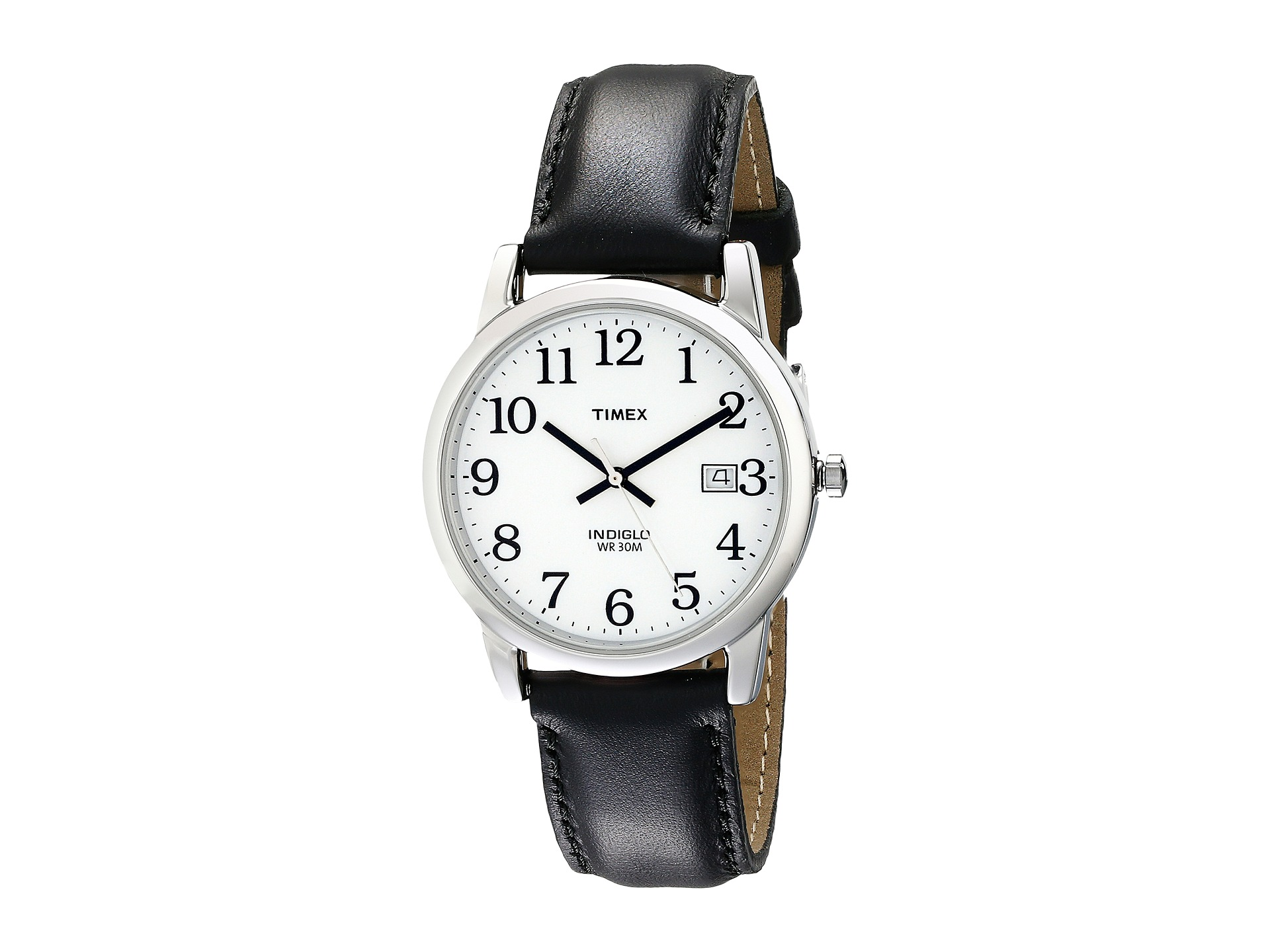 1ffd10a305b8c Timex Core Easy Reader Black Leather Strap White Dial on PopScreen