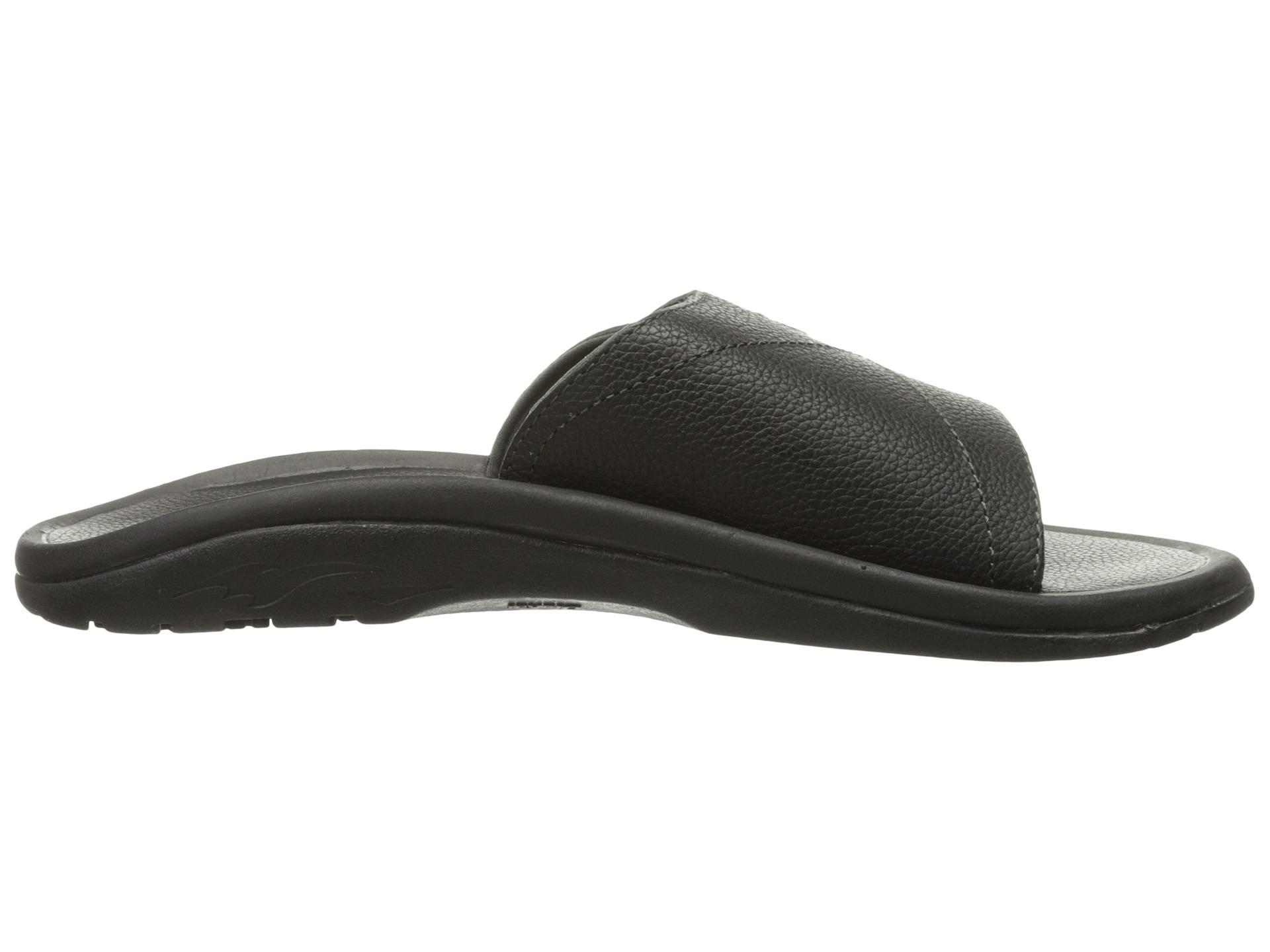Olukai Ohana Leather Slide Black Black Zappos Com Free