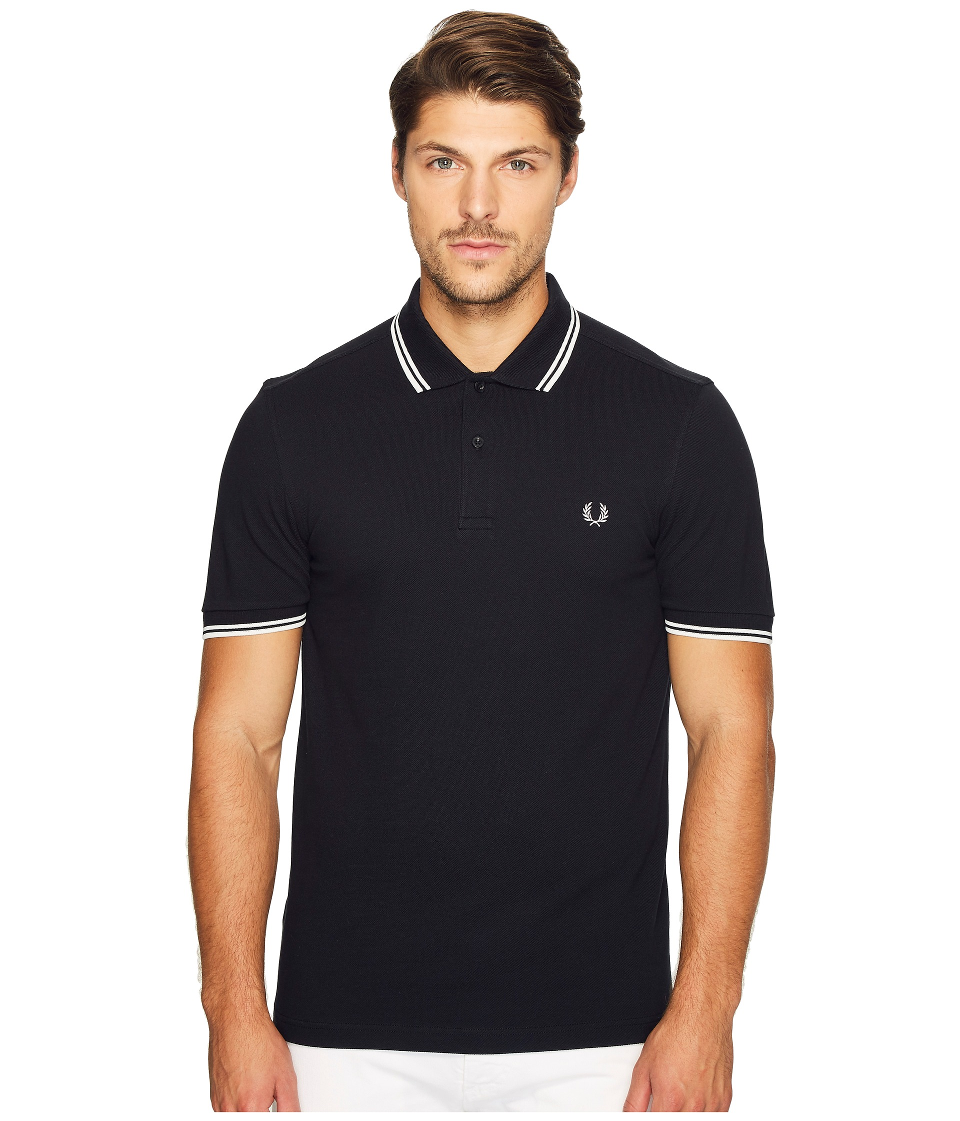 Fred Perry Slim Fit Twin Tipped Fred Perry Polo Black ...