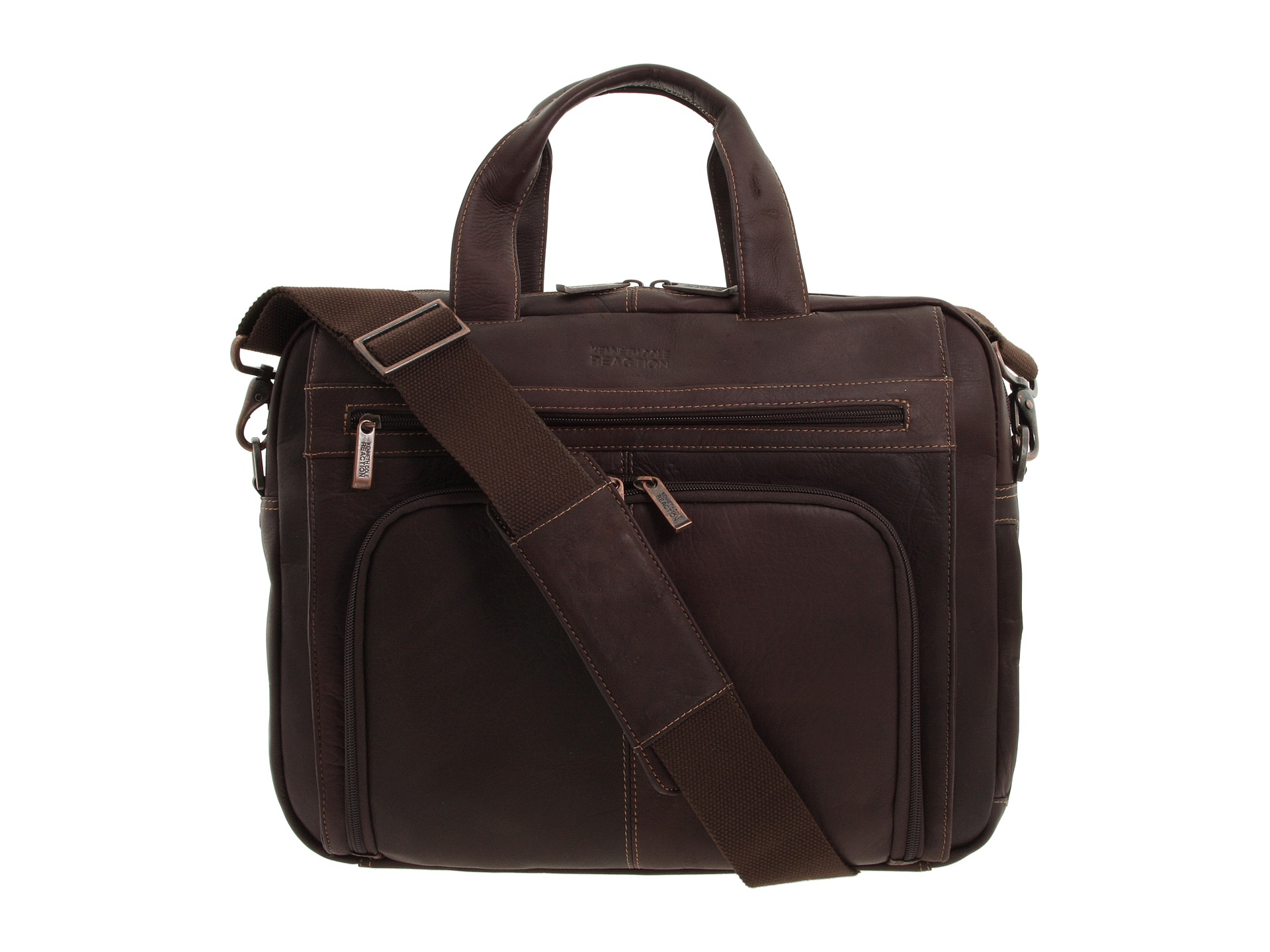 d2dda8005564 Kenneth Cole Reaction Out of the Bag 5 to 6 1/2 Double Gusset Expandable  Top Zip Portfolio Computer Case Dark Brown Full Grain Leather