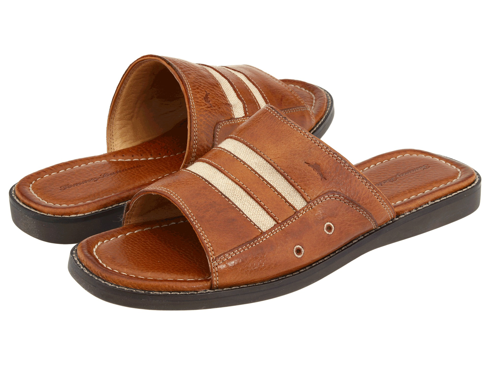 Tommy Bahama Anchors Away Slide Brown Leather Zappos Com