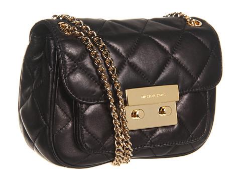 4de781d7fdf8 Michael Michael Kors Sloan Small Shoulder Flap Black Leather ...