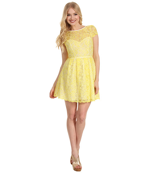 Search Abs Allen Schwartz Cap Sleeve Lace Dress Yellow