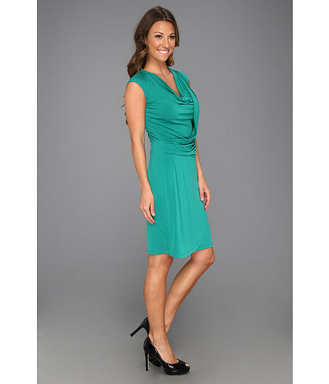 Draped Cowl Neck Dress: Muse Cowl Neck Draped Front Sheath Dress Pine Green