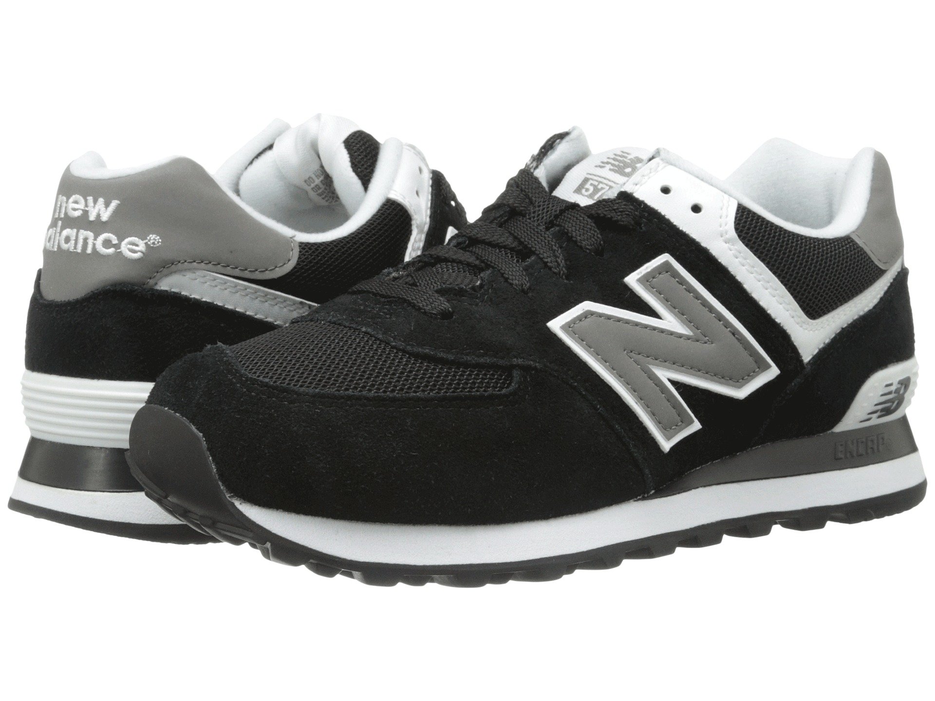 New Balance Classics M574 Black/Grey/White - Zappos.com Free Shipping BOTH Ways