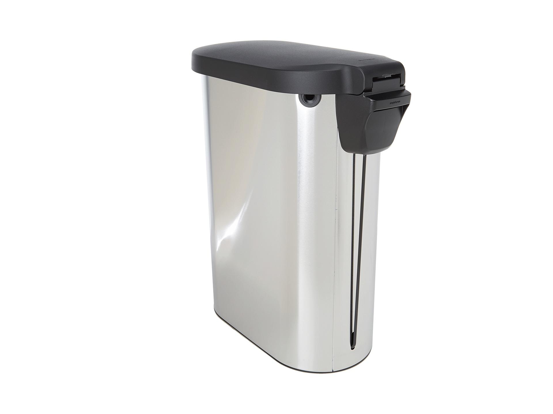 simplehuman 45l slim step trash can w plastic lid fingerprint proof shipped free at zappos. Black Bedroom Furniture Sets. Home Design Ideas