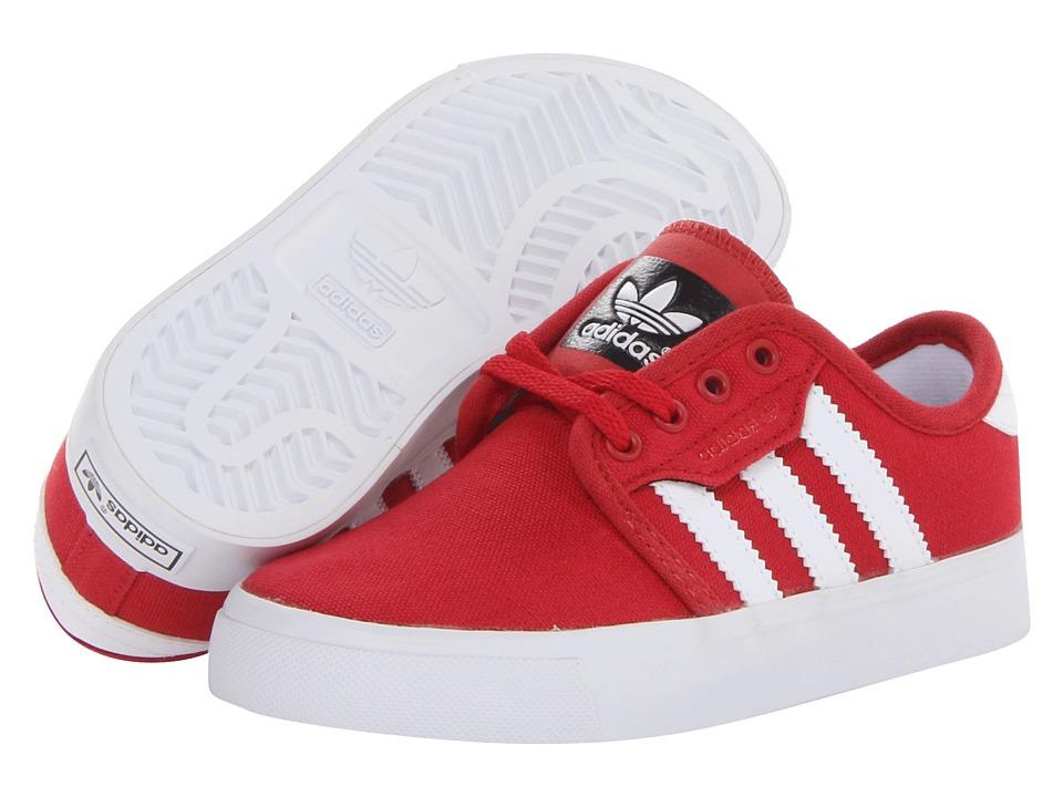 save off c0ae2 a66e8 adidas Skateboarding Seeley J (Little Kid Big Kid) (University Red White)  Skate Shoes