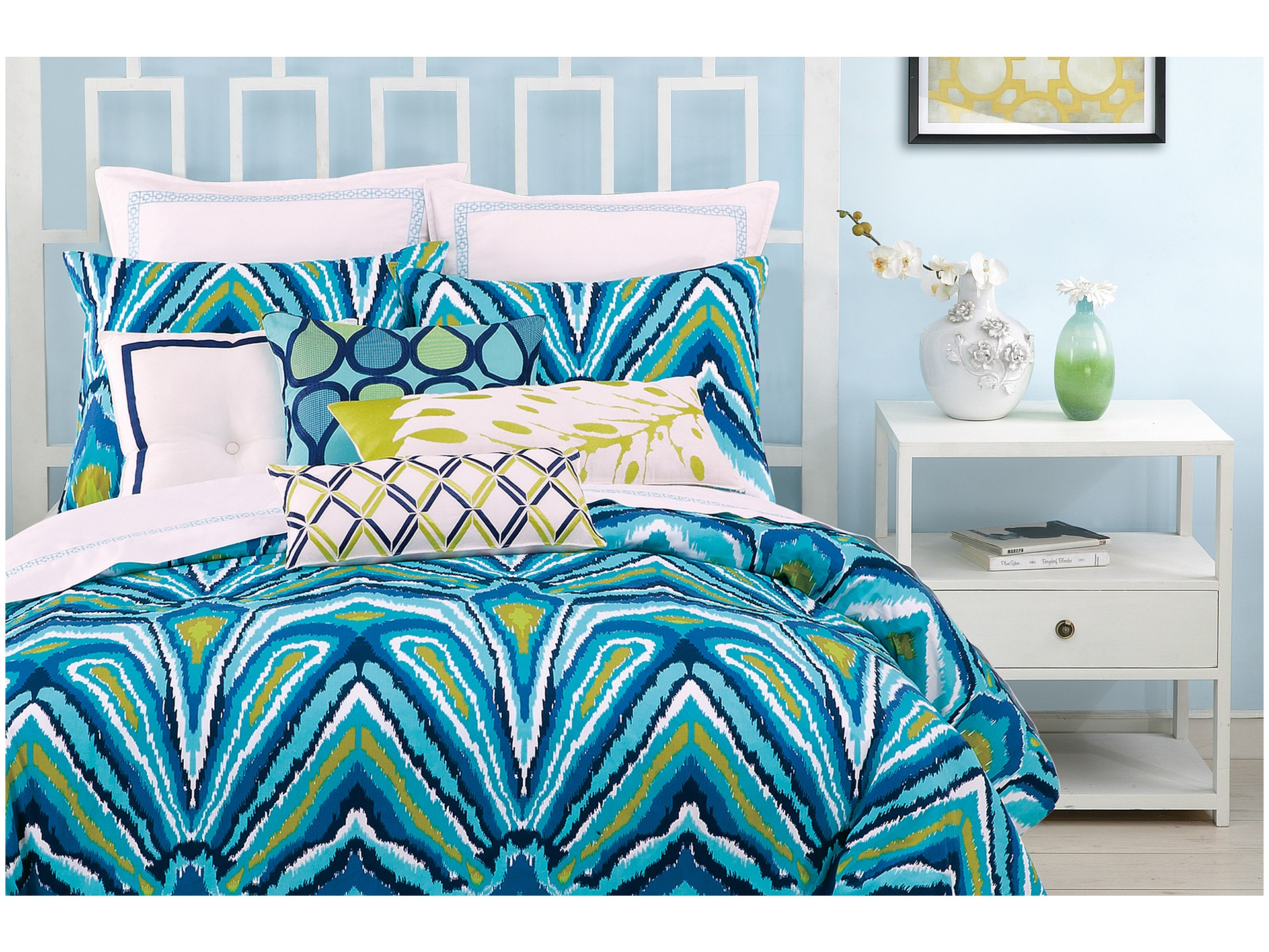 Trina Turk Blue Peacock Comforter Set King