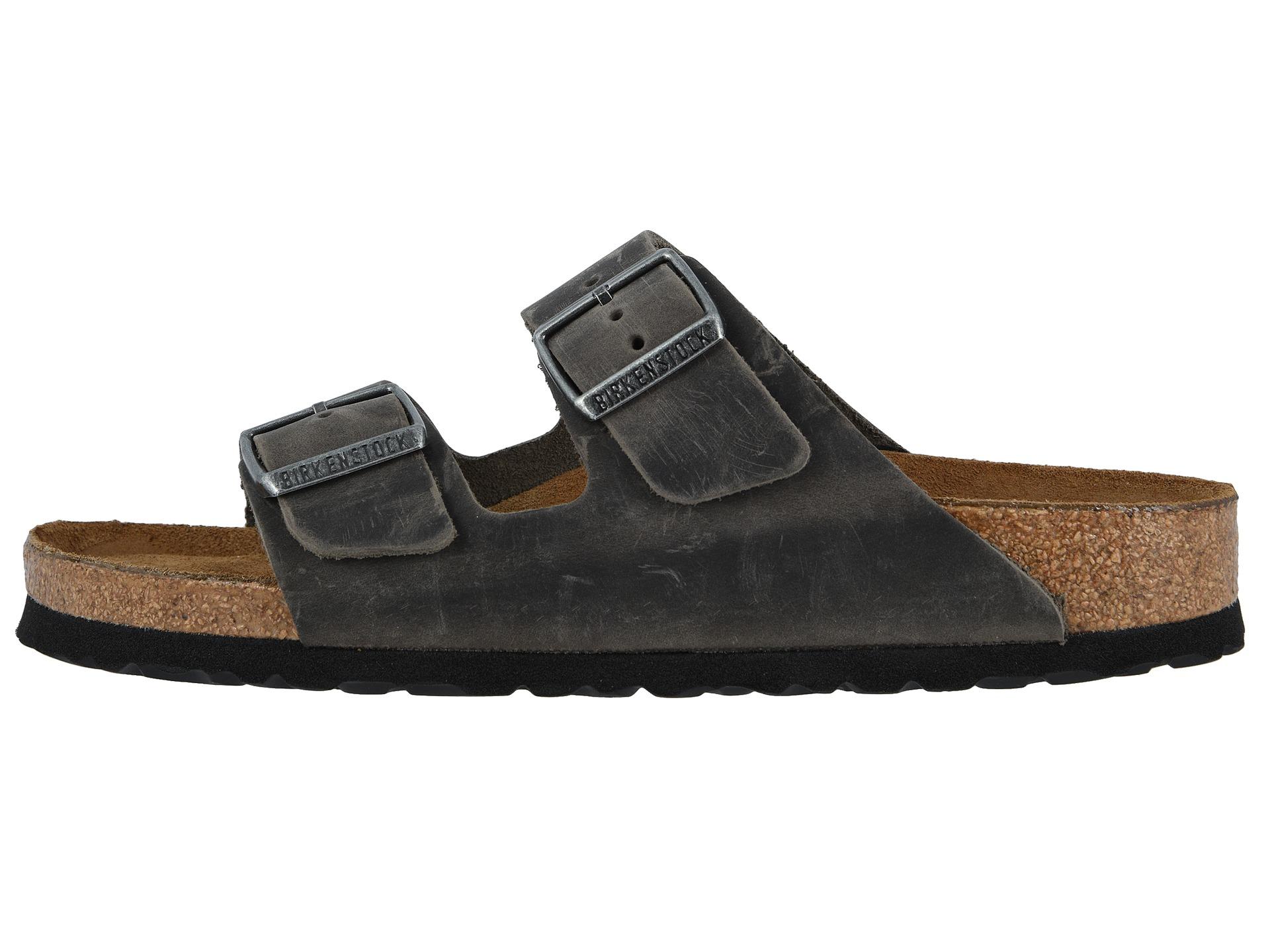 Birkenstock Arizona Soft Footbed - Leather (Unisex) Iron - Zappos.com Free Shipping BOTH Ways