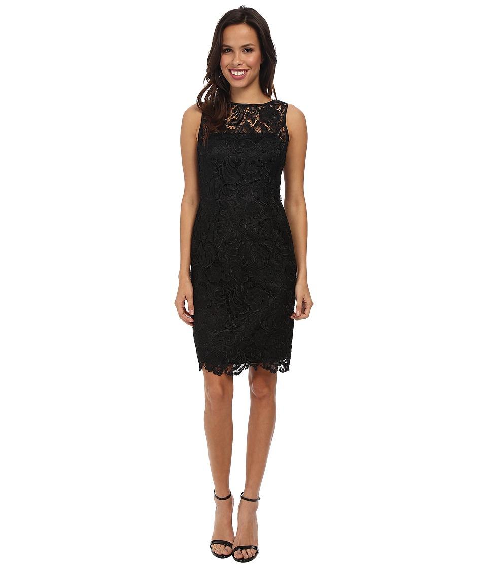 Adrianna Papell Illusion Neck Lace Dress Black Women S