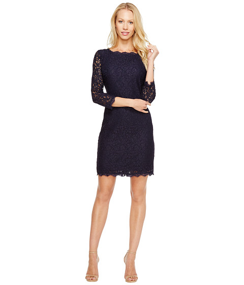 Adrianna Papell L/S Lace Dress At Zappos.com