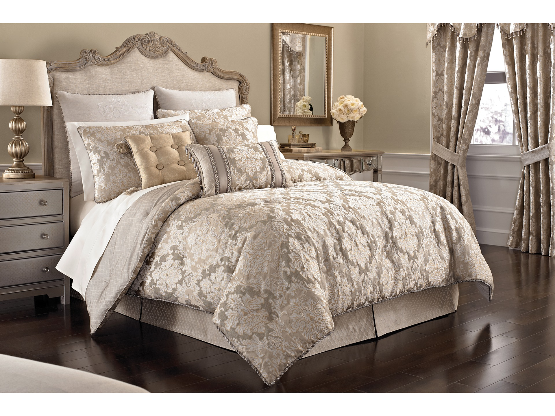 croscill ava king comforter set taupe shipped free at zappos. Black Bedroom Furniture Sets. Home Design Ideas