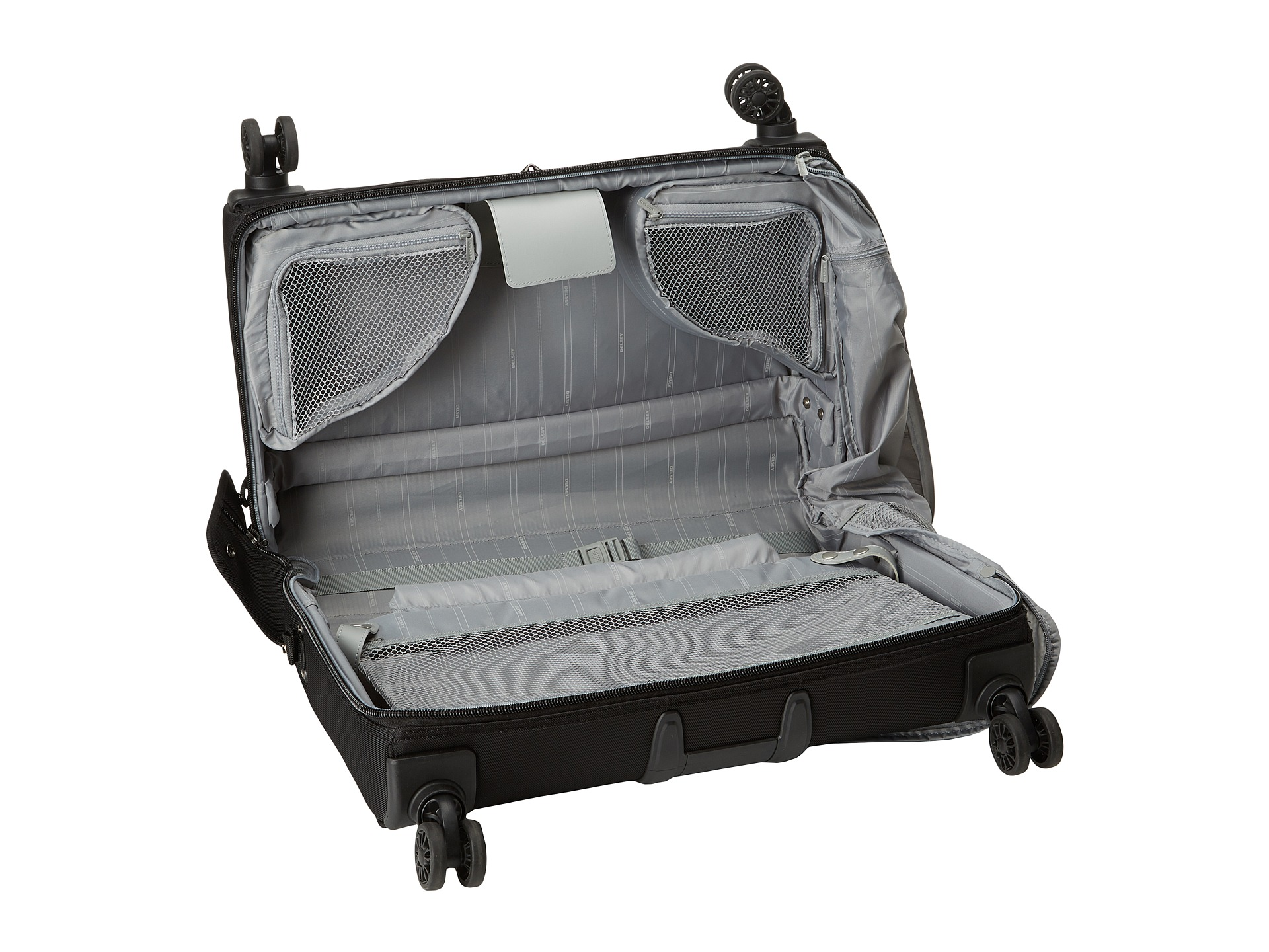 delsey helium xpert lite 2 0 carry on spinner trolley garment bag black shipped free at zappos. Black Bedroom Furniture Sets. Home Design Ideas