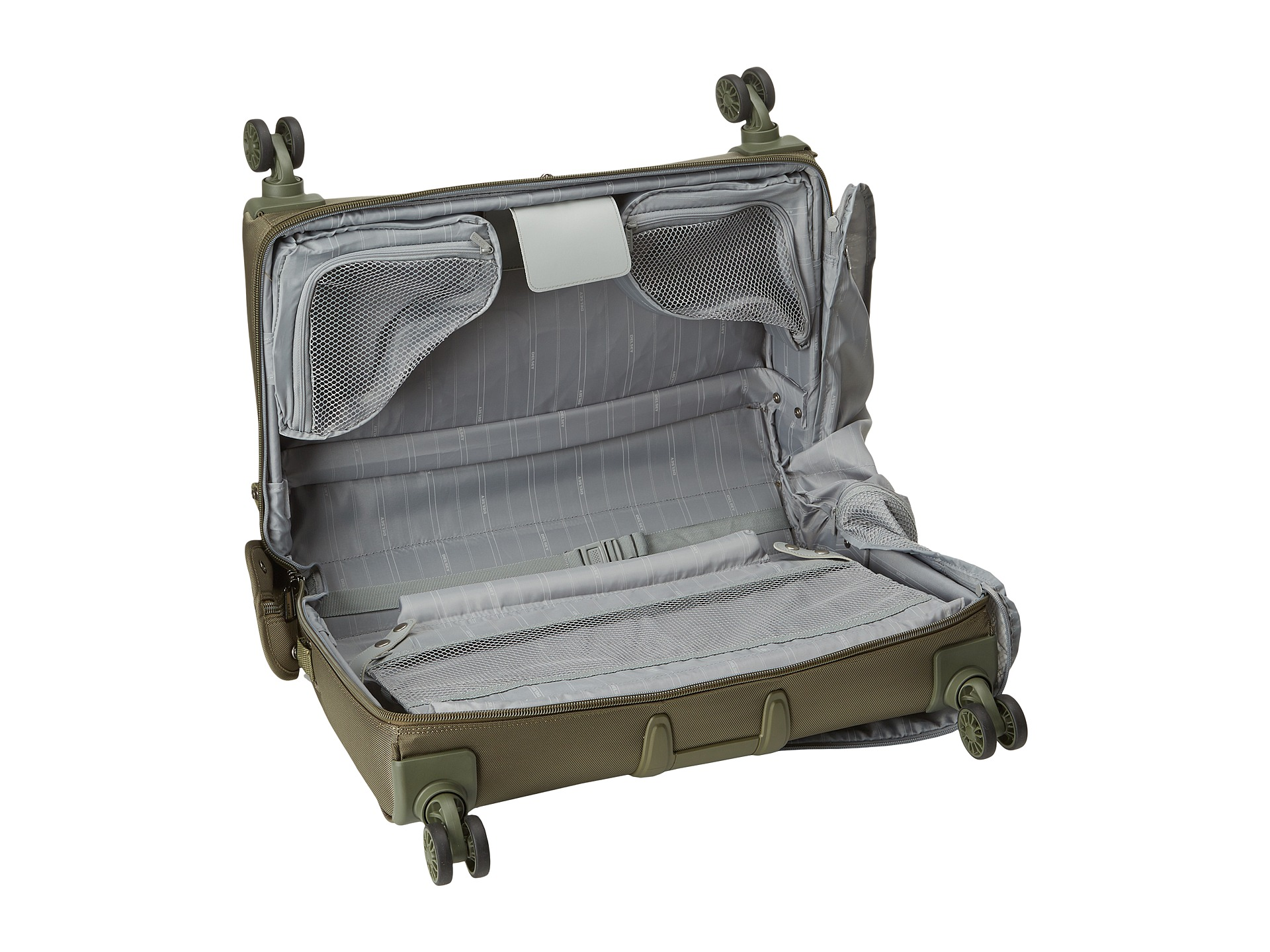 delsey helium xpert lite 2 0 carry on spinner trolley garment bag green shipped free at zappos. Black Bedroom Furniture Sets. Home Design Ideas