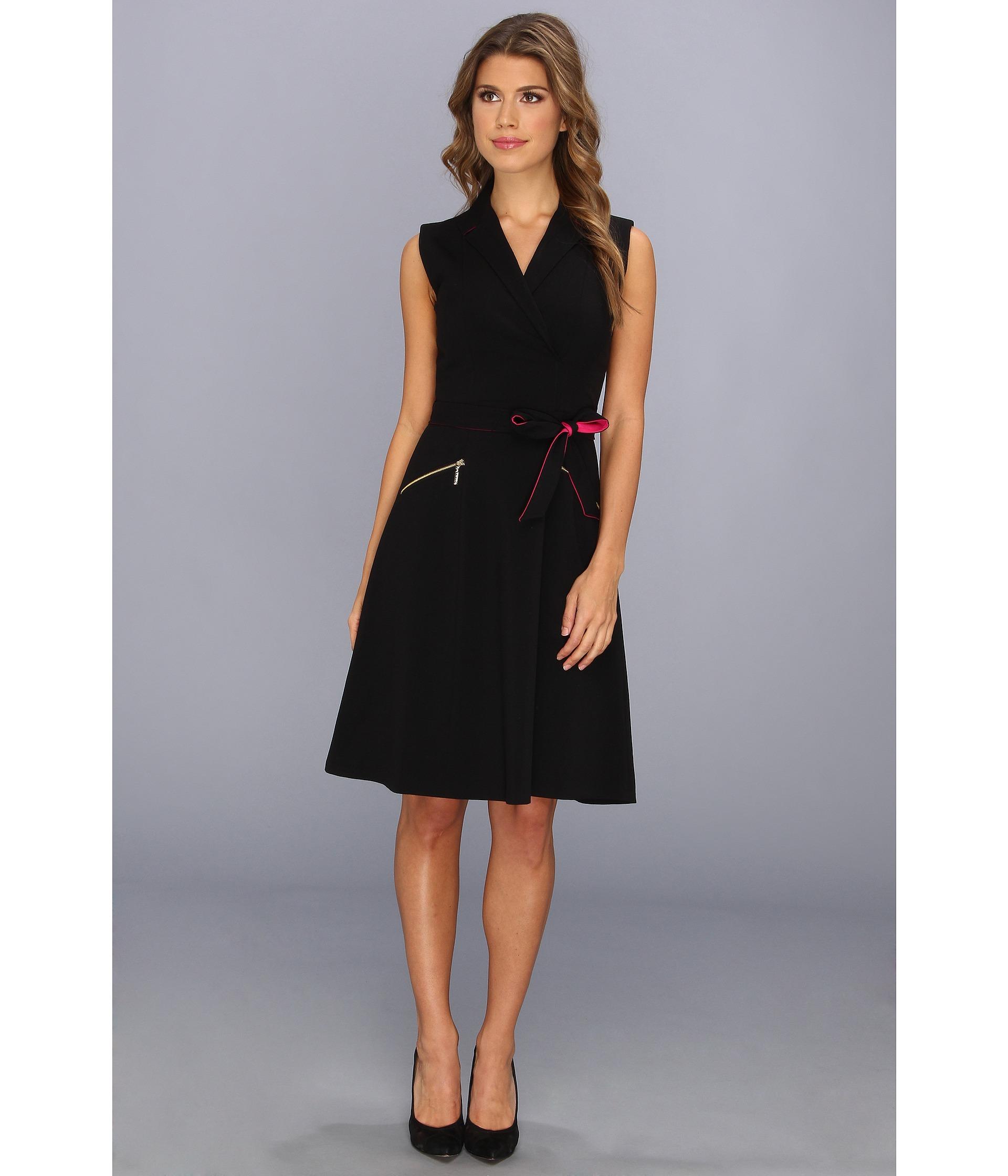 Calvin Klein Aline Shirt Dress W Tie Belt Black Shipped