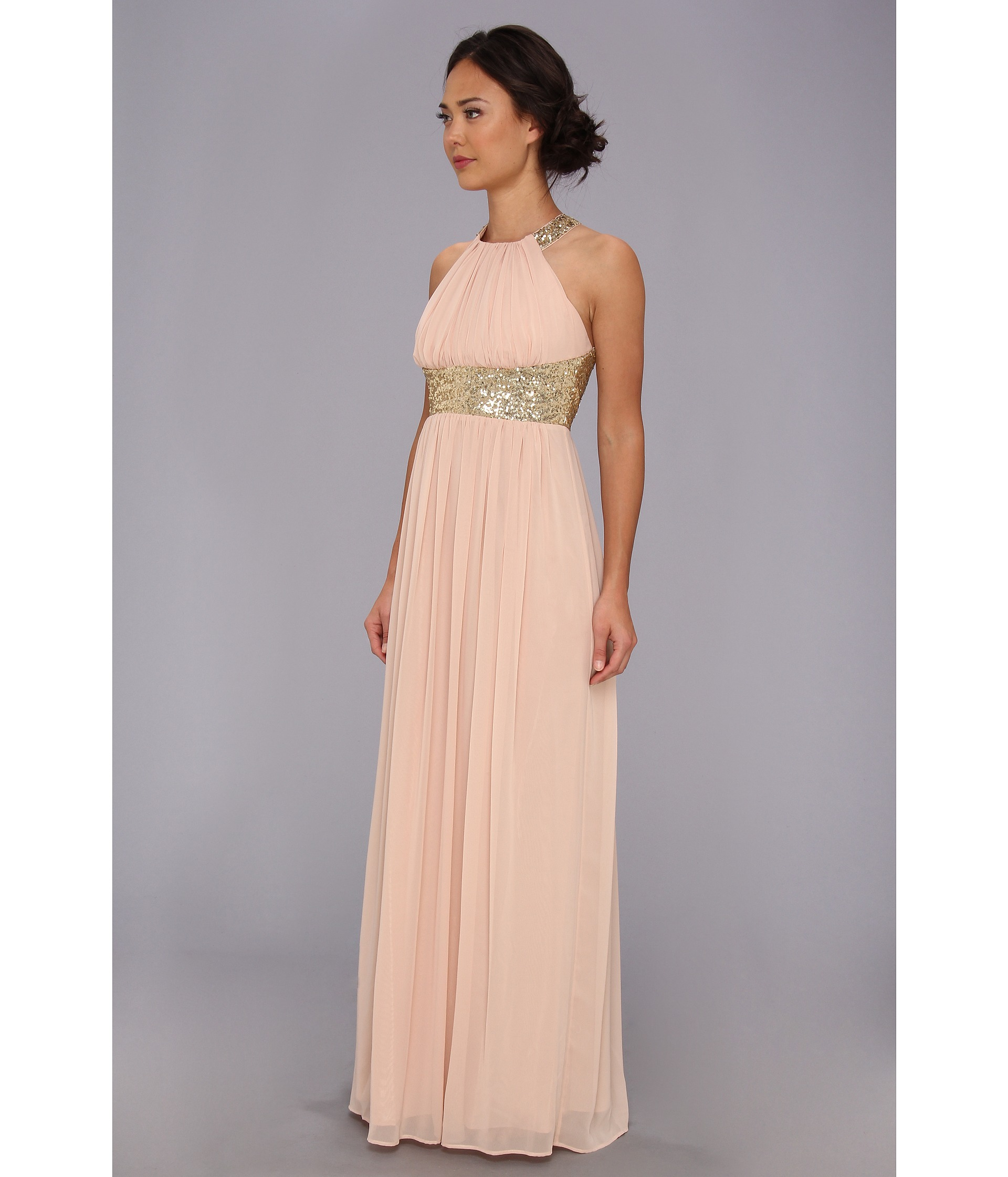 Calvin Klein Wedding Gowns: Calvin Klein Halter Gown W Seqins Dress Nude Gold