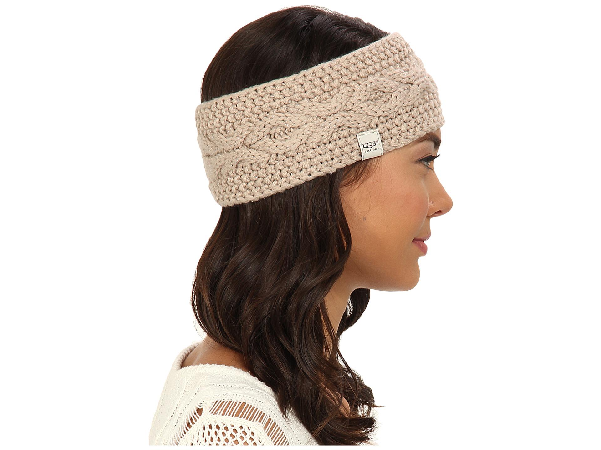 Ugg Nyla Cable Headband With Lurex Steel Blue M Zappos
