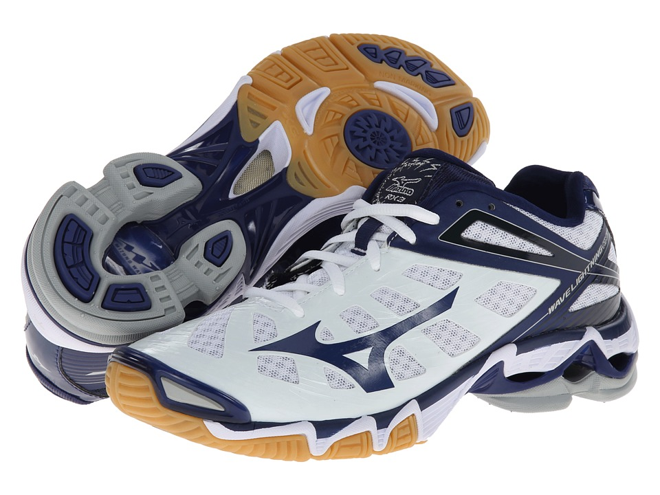 navy blue and white mizuno volleyball shoes