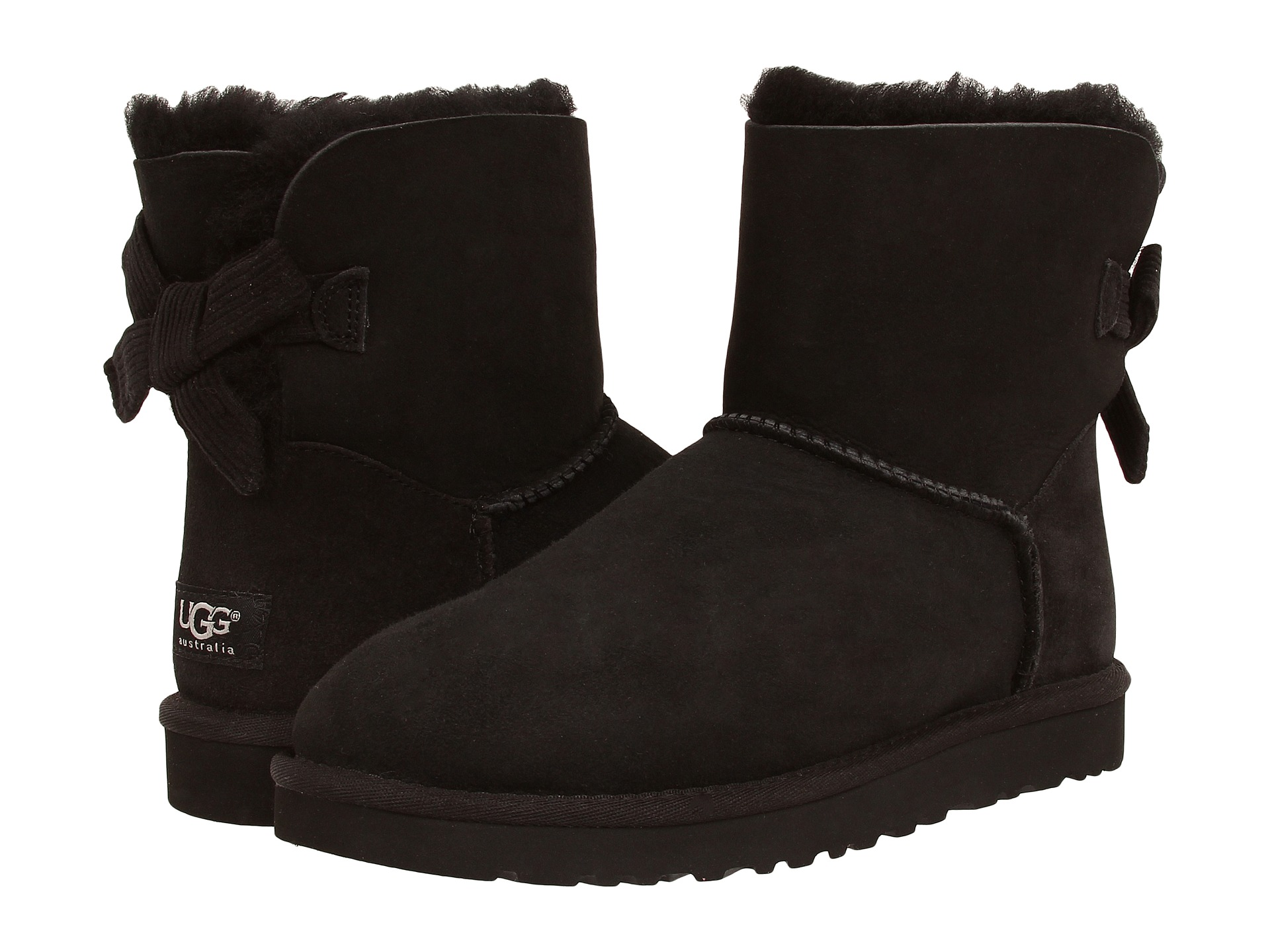 ugg mini bailey bow corduroy black shipped free at zappos. Black Bedroom Furniture Sets. Home Design Ideas