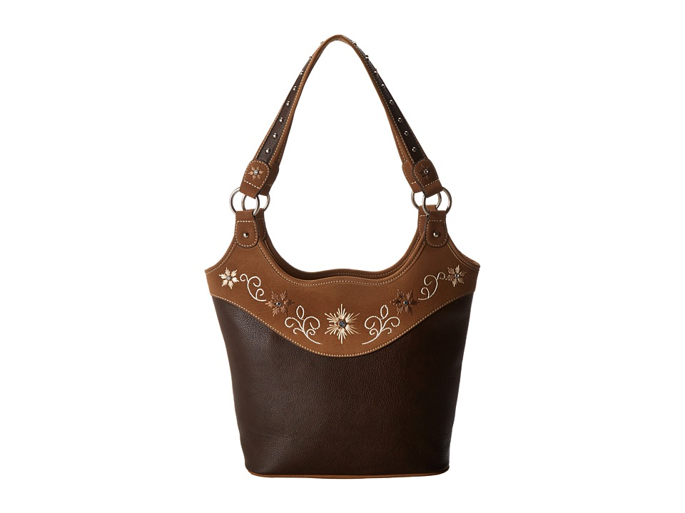 76d12e440f  428.00 More Details · M F Western - Embroidered Flower Bucket Tote  (Distressed Brown) Shoulder Handbags