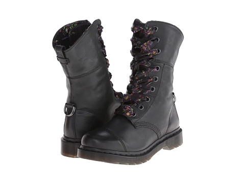 45341b1f00 Dr Martens Aimilita 9 Eye Toe Cap Boot Black Floral Darkened Mirage ...