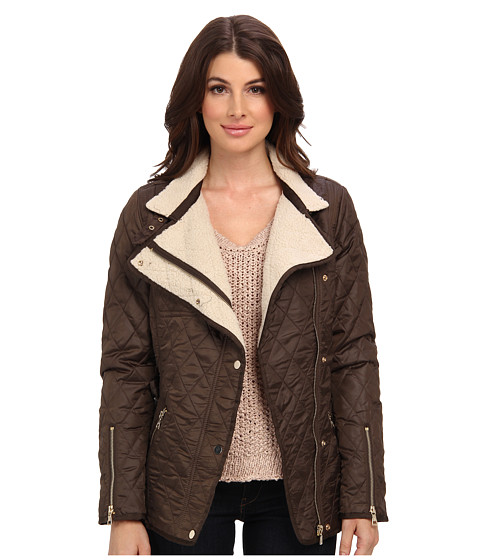 Sam Edelman Rylie Quilted Jacket W Sherpa Inner Olive