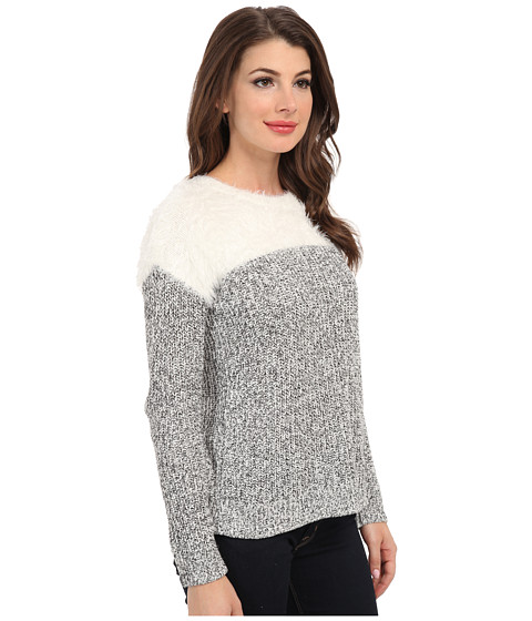 Two By Vince Camuto L S Marled Sweater W Eyelash Yoke