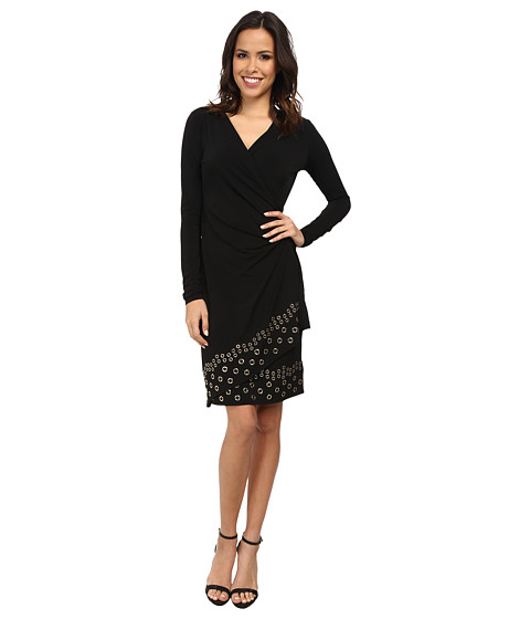 Michael Michael Kors Long Sleeve Grommet Hem Wrap Dress
