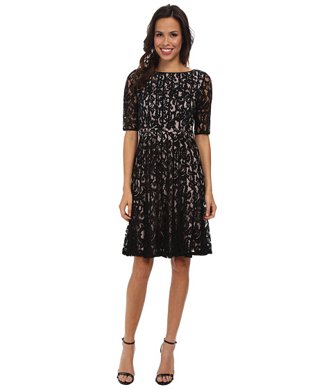 Adrianna Papell Lace Fractured Fit Amp Flare Dress Black