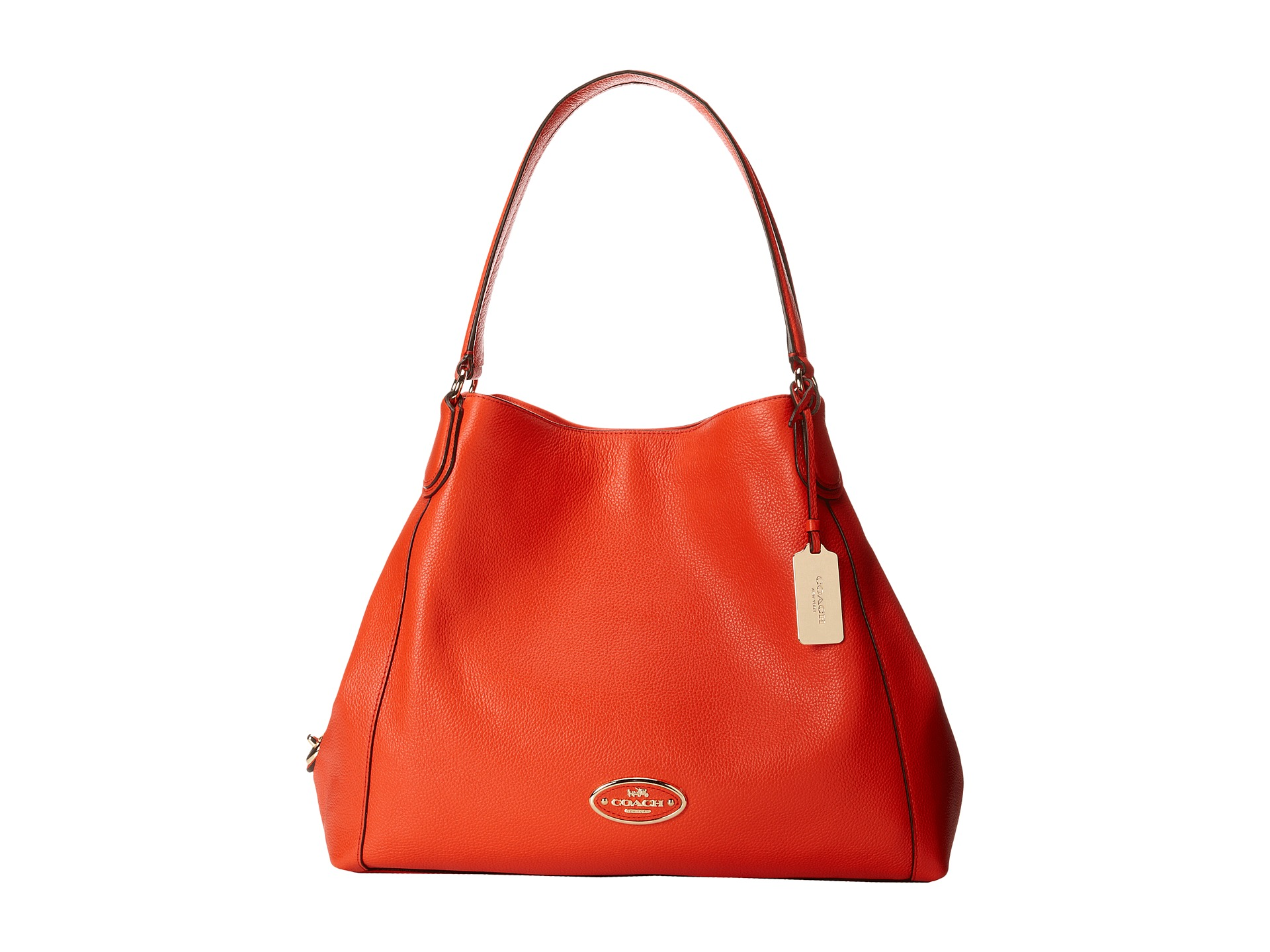 COACH Refined Pebbled Leather Edie Shoulder Bag Zappos