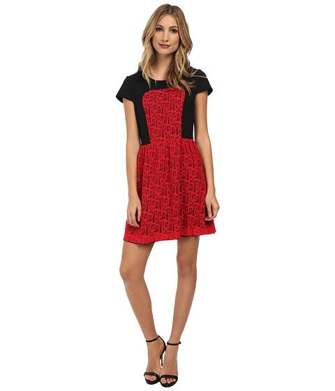 Kensie Geometric Lace Dress Poppy Combo 6pm Com