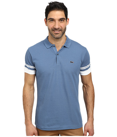 lacoste cotton pique semi fancy slim fit made in france polo admiral blue white. Black Bedroom Furniture Sets. Home Design Ideas