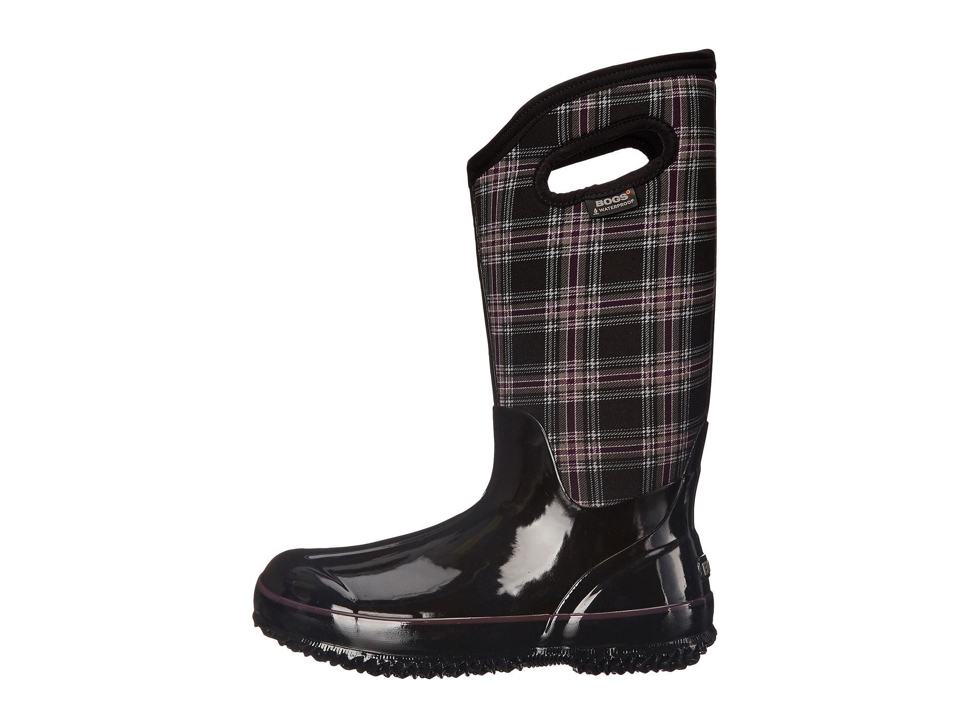 Bogs Classic Winter Plaid Tall Wide Calf Boot Black Multi