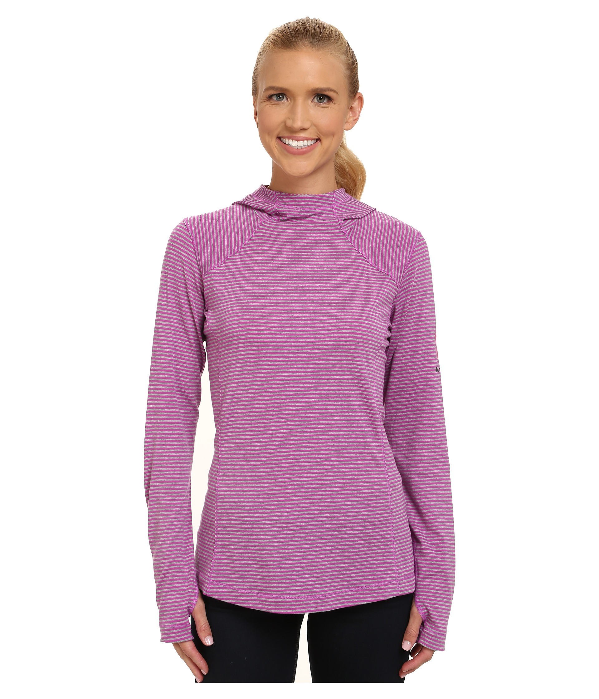 ca17679accd Columbia Tested Tough in Pink™ Layer First Hoodie Foxglove Heathered Stripe