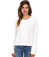 Gabriella Rocha Chevron Sweater Knit Babydoll Ivory Black