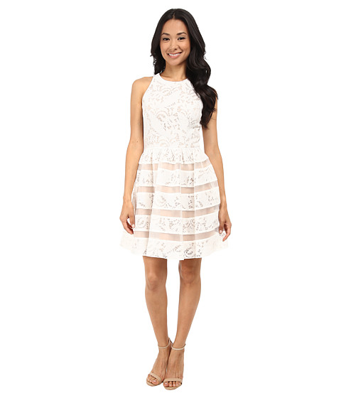 Aidan Mattox Embroidered Lace Dress With Organza Illusion