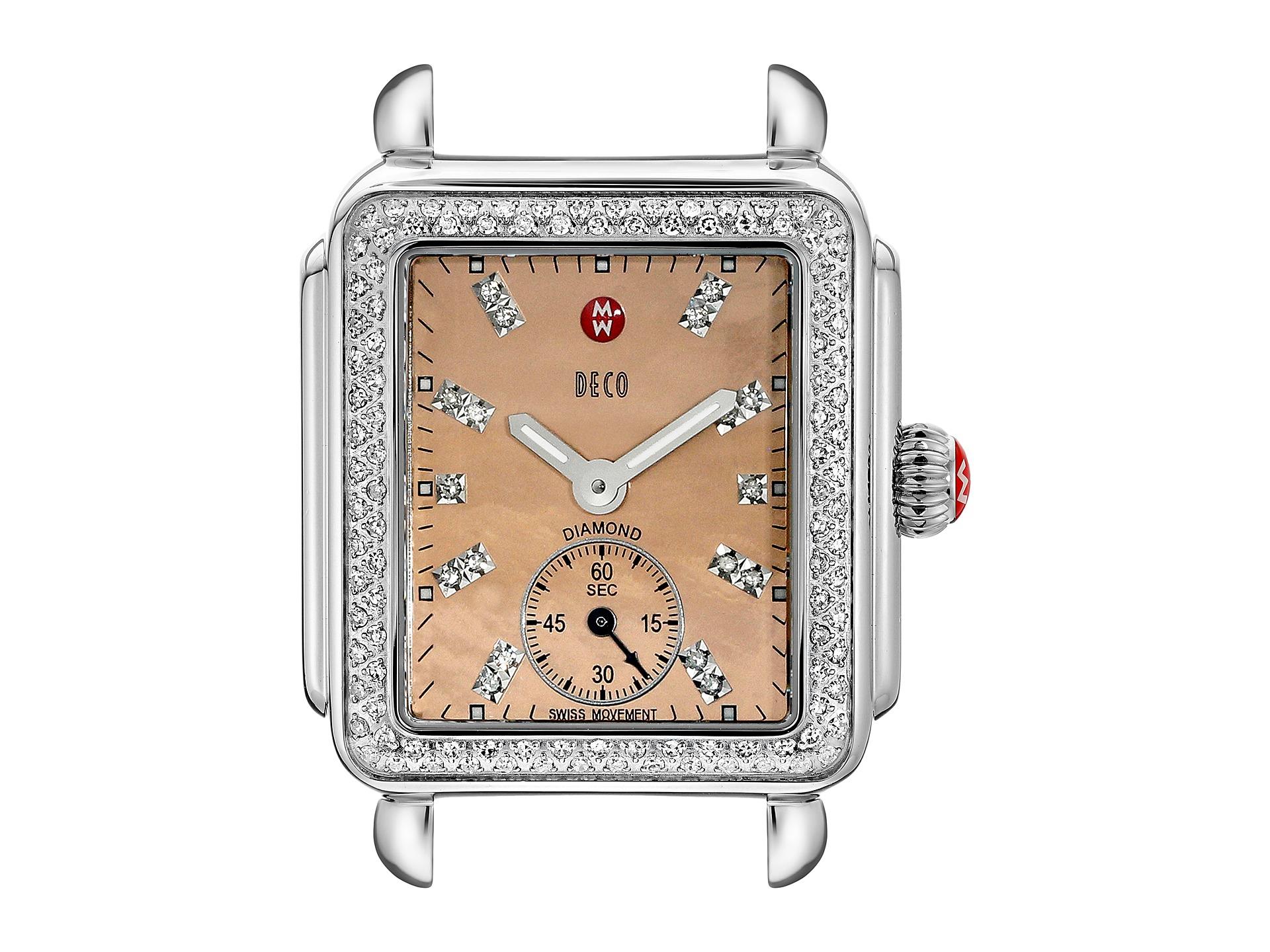 michele deco 16 diamond metallic rose gold diamond dial watch head stainless free. Black Bedroom Furniture Sets. Home Design Ideas
