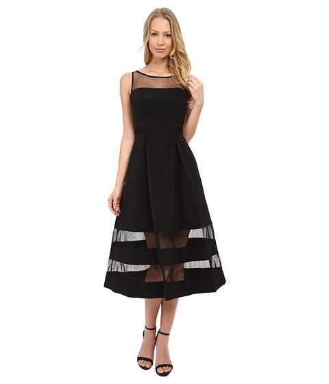 Aidan Mattox Cocktail Dress W Sheer Illusion Panels Black