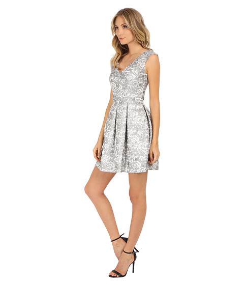 Aidan Mattox V Neck Jacquard Dress Silver 6pm Com