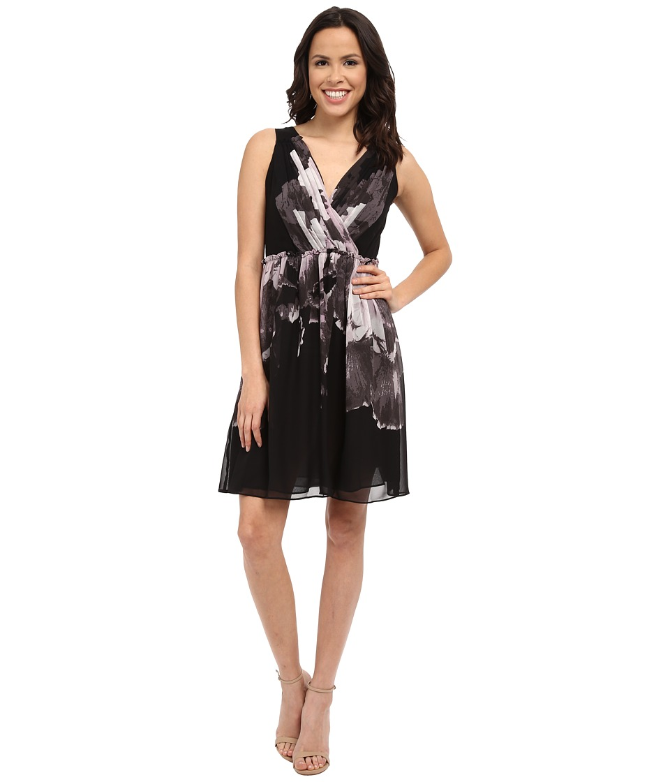 Adrianna Papell Deep V Neck Gathered Waist Fit And Flare