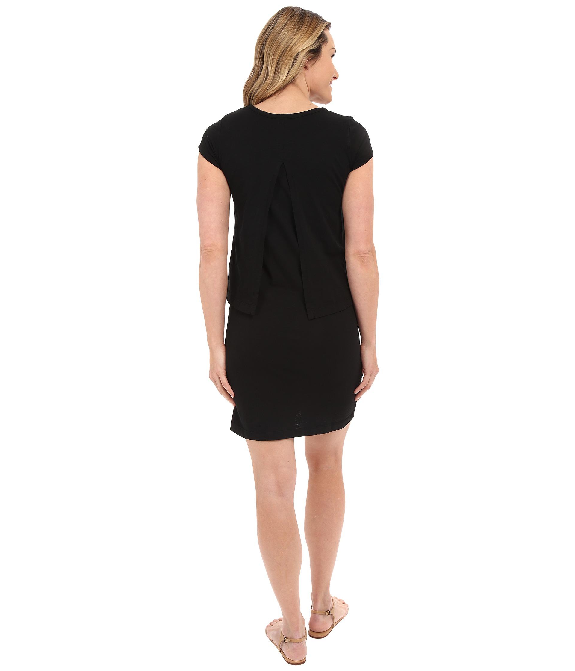 Mod-o-doc Short Sleeves Slub Jersey Double Layer T-Shirt Dress