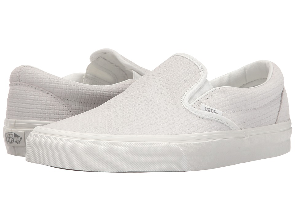 79c21e8c49 Vans Classic Slip On Braided Suede Blanc De Blanc Skate Shoes