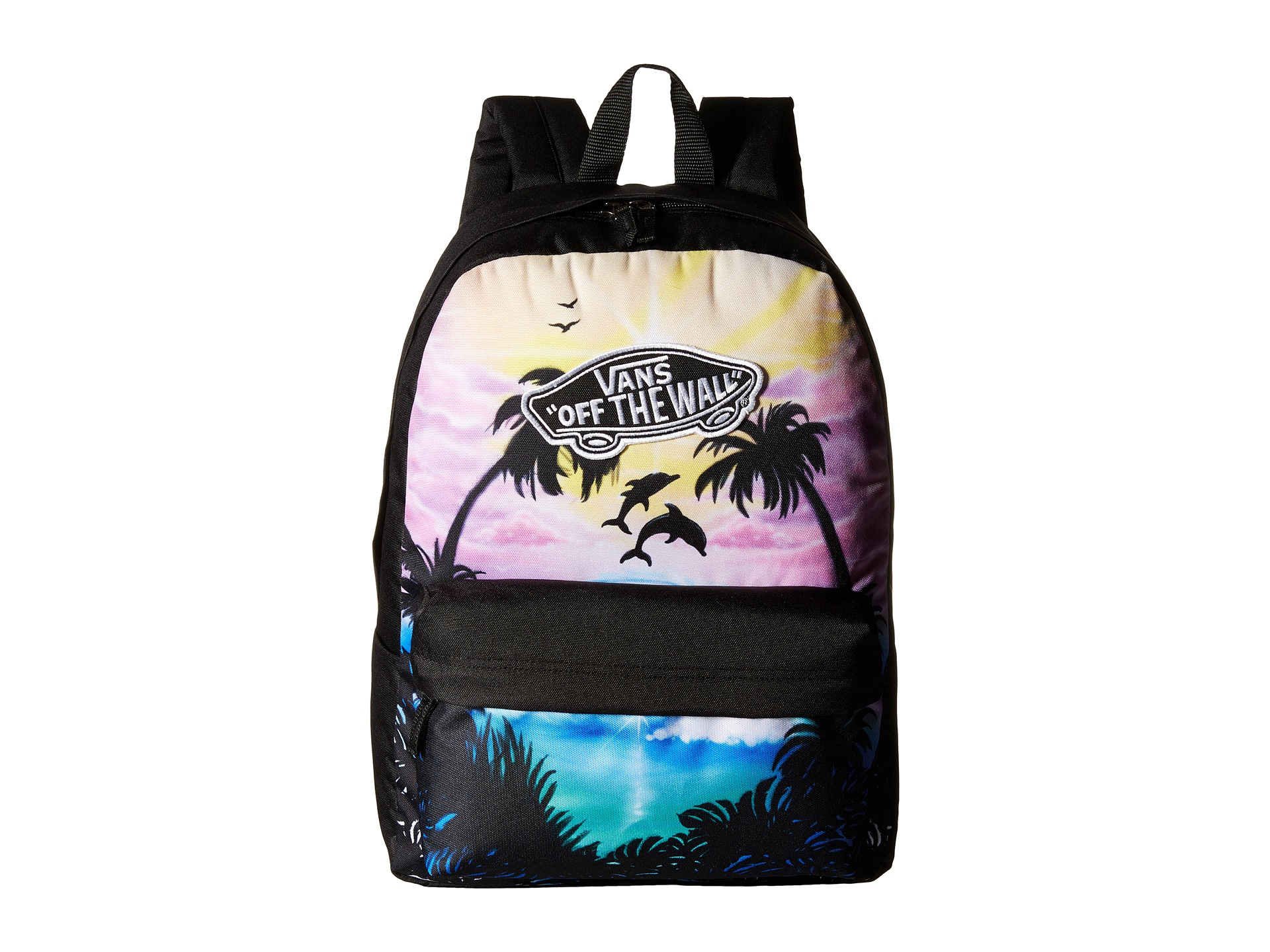 b31db47f3d Vans Realm Backpack (Dolphin Beach) Black True White on PopScreen
