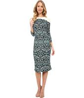 Maggy London Colorblock Lace Sheath Dress Green Multi