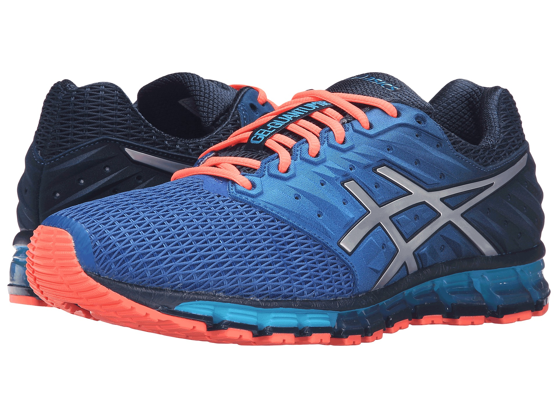 asics gel quantum 180 2 dark navy silver flash coral free shipping both ways. Black Bedroom Furniture Sets. Home Design Ideas
