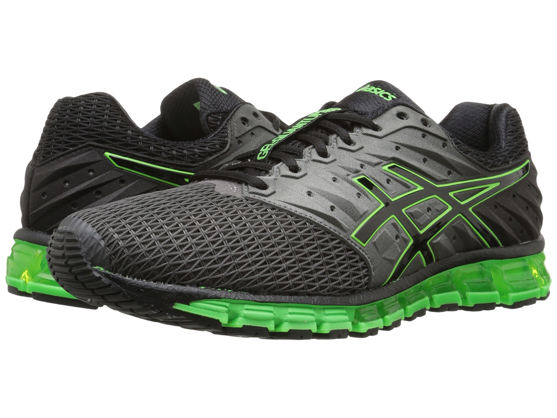 asics gel quantum 180 2 carbon black green gecko free shipping both ways