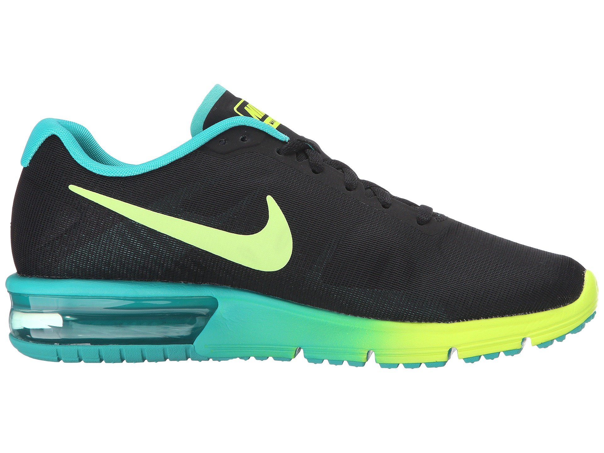 Nike Air Max Sequent Black Volt Clear Jade Zappos Com