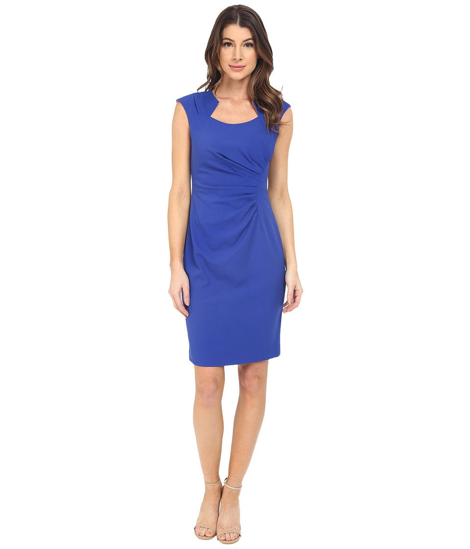 e9d35b83b9cd Calvin Klein - Cap Sleeve Ruched Sheath Dress (Atlantis) Women s Dress